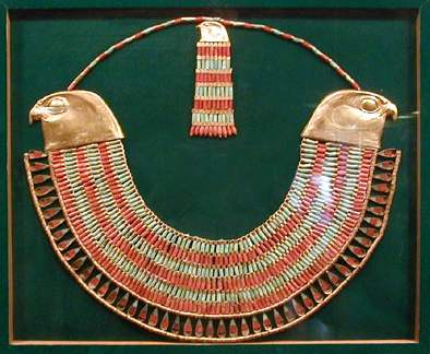 Egyptian jewelry with the head of the god Horus