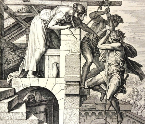 Rahab lowers the two spies down the wall of Jericho