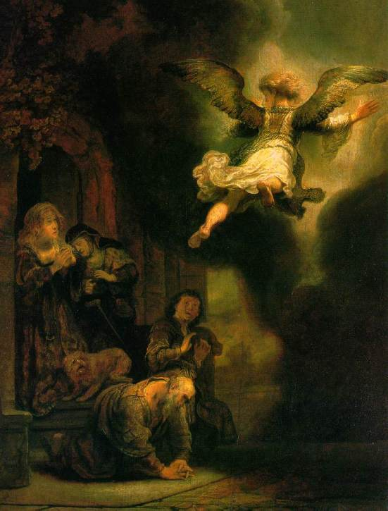 Book of Tobit: Rembrandt's painting of the departure of the archangel Raphael from Tobit's family