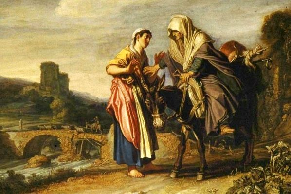 Ruth and Naomi in Bible Paintings: Naomi urges Ruth to go back to her own people, Pieter Lastman
