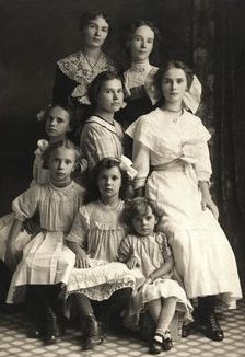 Seven sisters with their mother