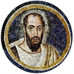 Circular mosaic showing St Paul