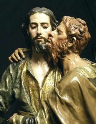 Bad Gospel Men: Judas. The Kiss of Judas, Spanish carving