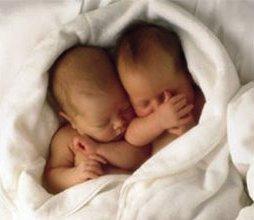 Twin babies sleeping