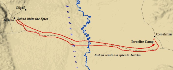 The path taken by the two spies sent by Joshua from Shittim to Jericho