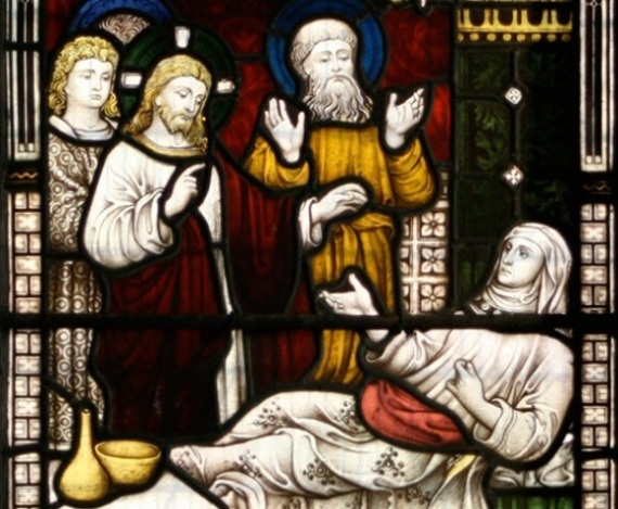 Jesus heals the mother-in-law, stained glass window
