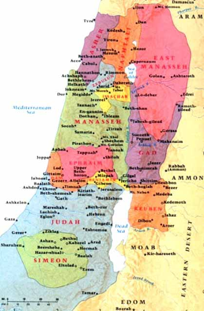 Territories allocated to the Twelve Tribes of Israel. Dan is in the far north.