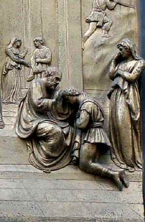 Rebecca, Isaac artworks: Isaac blesses his son, detail from the Isaac panel, Ghiberti's 'Gates of Paradise' Florence