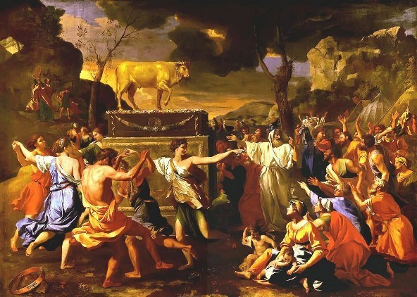 Paintings of Moses: 'Adoration of the Golden Calf', Nicolas Poussin, 1633