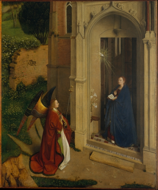 Paintings of Mary, mother of Jesus. Annunciation, 1452, Petrus Christus