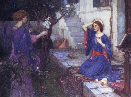 Painting of Mary at the Annunciation, 1914, John William Waterhouse