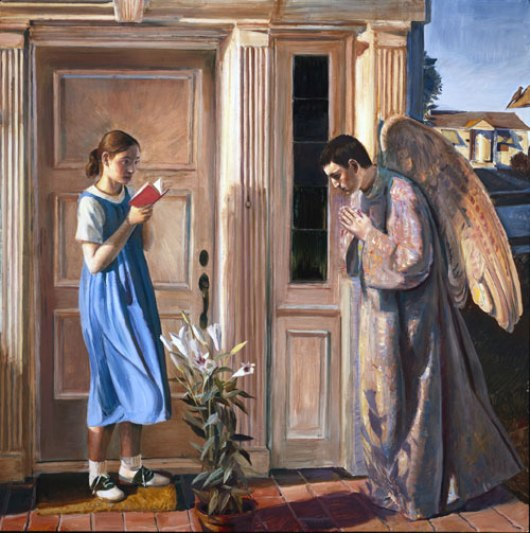 Paintings of Mary of Nazareth, mother of Jesus. The Annunciation, John Collier