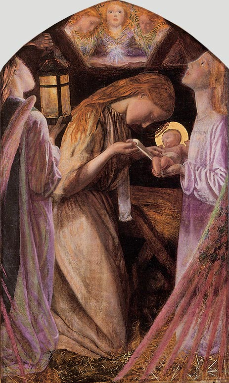 Paintings of Mary and Jesus, Nativity, Arthur Hughes, 1858