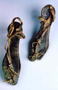 Children's clothes in ancient Israel. Sandals found at the Bar Kochba site