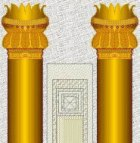Two gold covered columns stood at the entrance to the Temple of Solomon