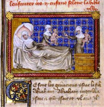 Paintings of Rebecca & Isaac: Manuscript page showing Rebecca resting after the birth of twin sons. Illustration is from Jean de Mandeville's 'Mandeville's Travels'