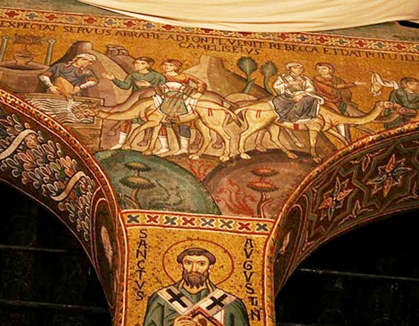 Rebecca, Isaac artworks: Cappella Palatina, Palermo, Rebecca at the Well by an unknown mosaic artist