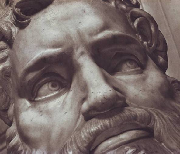 Moses: Close-up of the eyes of Moses, from Michelangelo's marble statue