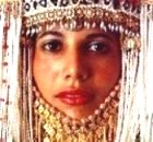 Beautiful Middle Eastern woman with ornate headdress