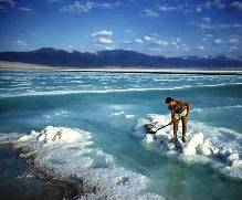 Harvesting salt from the Dead Sea