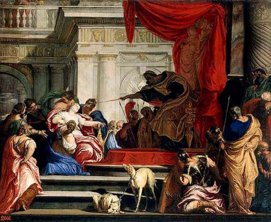 ESTHER,BIBLE ART GALLERY,Valentin Lefevre, Esther Before Ahasuerus