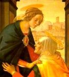 Elizabeth kneels as she greets Mary of Nazareth