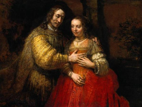Isaac, Rebecca paintings: The Jewish Bride, by Rembrandt