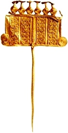 Ancient jewelry, delicate ornate gold pin