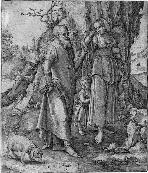 Paintings of Hagar & Sarah: 'Abraham repudiates Hagar', Lucas van Leyden