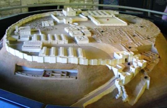 Reconstruction of the ancient city of Megiddo, showing the city, its walls and the massive gateway