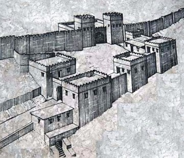 Drawing of the gates of Megiddo as they would have been in biblical times