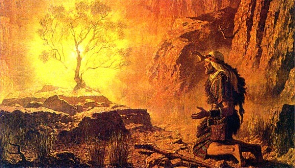 Moses paintings: Man kneeling before a burning bush, as described in the Bible
