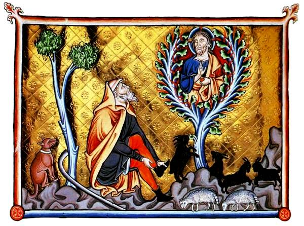 Moses Paintings: 'Moses sees God in the Burning Bush', illuminated manuscript