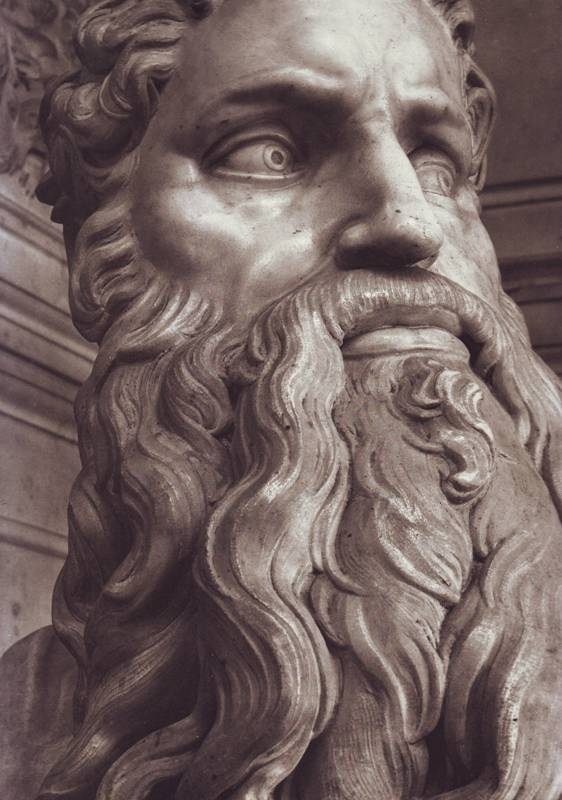 Moses: Close-up of the face of Moses, from Michelangelo's marble statue