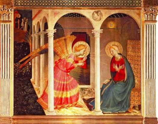 Paintings of Mary, mother of Jesus. Annunciation, Fra Angelico, circa 1433