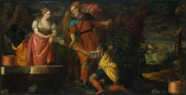 Rebecca, Isaac paintings: Veronese (Paolo Cagliari) : Rebecca at the Well, 1580