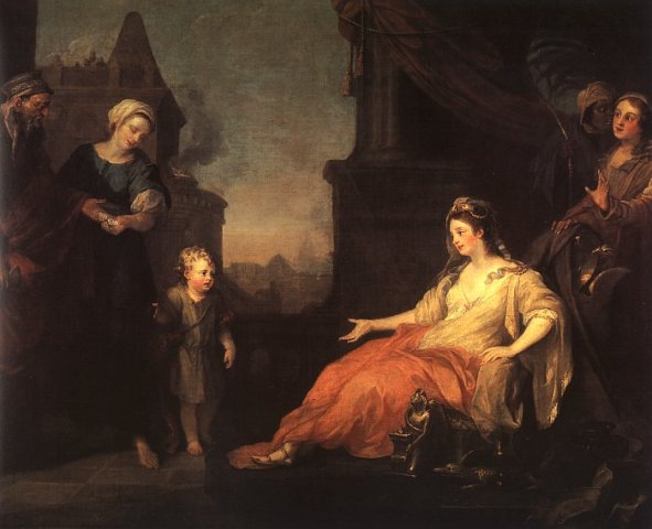 Moses Paintings: Moses brought before Pharaoh's daughter, William Hogarth, 1746