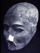 One of the clay-covered skulls excavated at Jericho