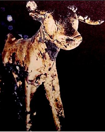 Phoenician image of the god Baal as a young calf; it was originally covered with gold leaf