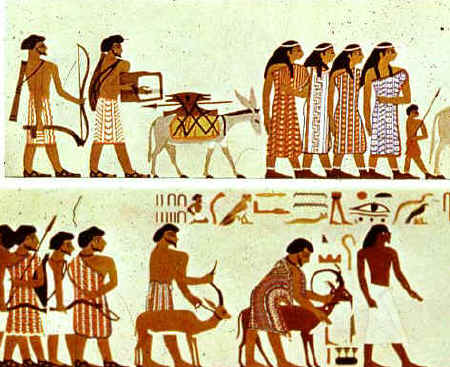 Bible Heroes: Joseph of Egypt. This Egyptian mural from the tombs at Beni-hasan may show Hebrew merchants and traders