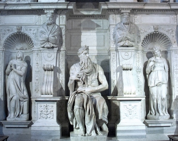 Moses with Rachel and Leah, Michelangelo, tomb of Pope Julius II, Rome