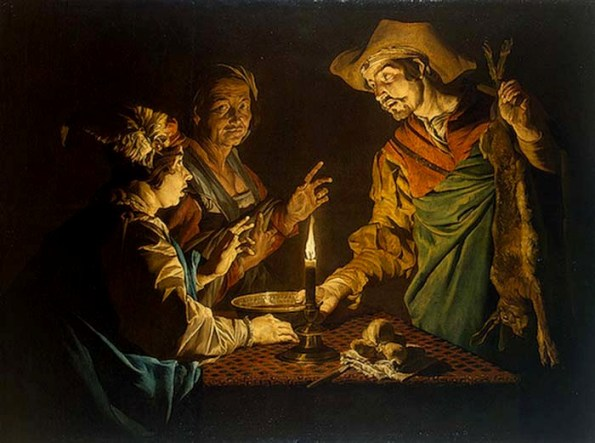 Paintings of Rebecca, Isaac: Selling the Birthright, by Matthias Stomer,1640
