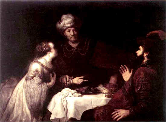Esther paintings: Jan Victors, Esther and Haman before Ahasuerus