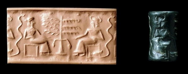 Greenstone cylinder seal from Mesopotamia, with clay imprint of the seal.