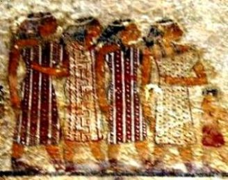 The nomadic Hebrew tribesmen with Aaron and Moses may have looked like these people, from a mural at a tomb at Beni-Hassan in Egypt