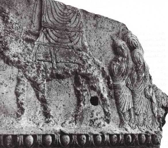 An ancient stone carving from Palmyra. It seems to show a portable Tabernacle.
