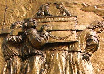 Late medieval relief of men carrying the Ark of the Covenant