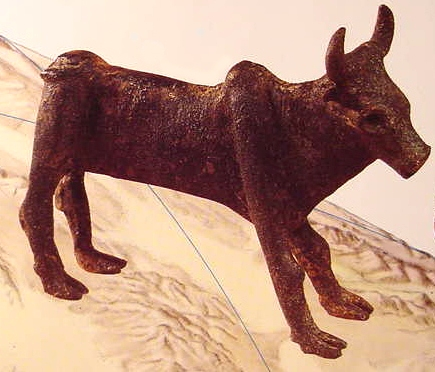 Bronze bull excavated in northern Israel. The bull, cow and calf were symbols of fertility, in crops, flocks & people.