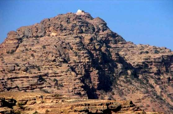 Mount Hor, the traditional place of Aaron's death. See the building at the summit, the supposed spot where Aaron died.