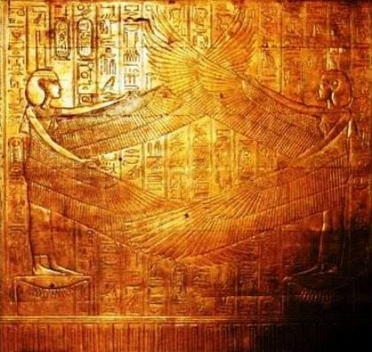 Creatures on the shrine doors in the Egyptian pharoah Tutankhamun's tomb.